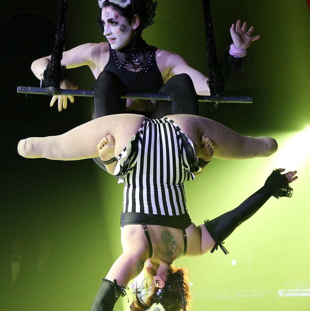Vanessa and Erin are on a trapeze bar, dressed in costumes that are black and white. Vanessa has her knees on the bar and is sitting back, hands open and off the bar, arms bent, looking sideways. Erin has a few inches of lower leg below the knee on each side and is hanging upside down, with legs wide, with her thighs on Vanessa's feet. Her arms are extended and reaching out below and above. The lighting is green. They have white fuzzy goggles on their heads. Performance during the Hospice Quinte gala on Saturday April 1, 2017 in Belleville, Ont. Tim Miller/Belleville Intelligencer/Postmedia Network